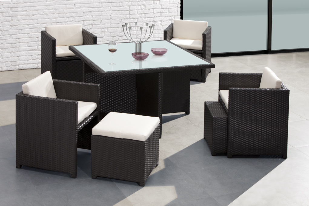 carini modern outdoor patio dining set espresso