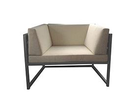 Anacapri Modern Outdoor Patio Arm Chair in Grey Aluminum
