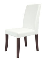 Canini Modern Dining Chair in White Leatherette with tobacco veneer legs