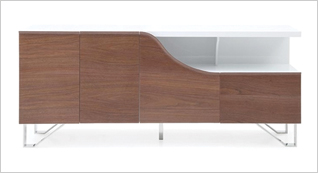 Lucca Modern Buffet in Walnut and White