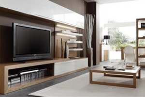Modern Wall Unit 2 white Lacquer and Walnut
