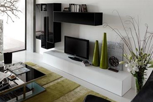 wall unit 9 in white and black at Modern Home 2 Go