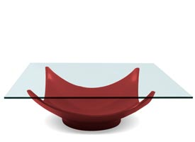 aleta modern coffee table in red