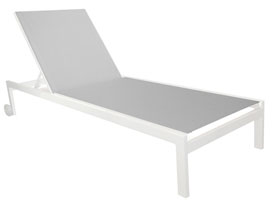 Anacapri Modern Patio Sound Lounger in White Aluminum
