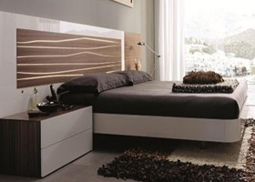 Aqua modern bed white walnut