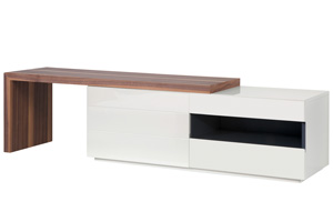 Arzano tv unit in white lacquer and walnut l shape