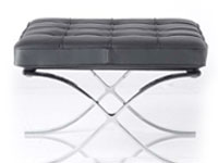 modern barcelona chair and Modern Barcelona Ottoman in black leather