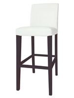 Canini Bar Stool in white Leatherette and tobacco venner legs