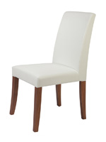 Canini Modern Dining Chair in White Leatherette with walnut veneer legs