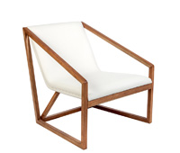 capua modern lounge chair white walnut