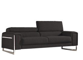 Carone black leather modern sofa