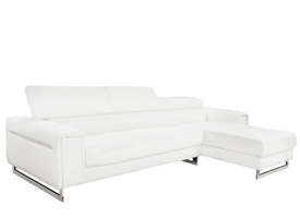 Carone White sectional In white leather