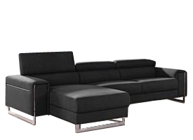 contemporary Carone black leather sectional