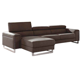 contemporary Carone espresso leather sectional