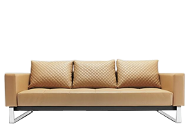 Cassius camel leatherette Sofa bed