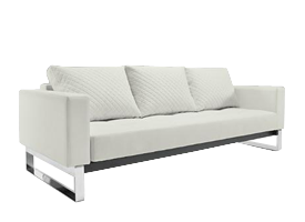 Cassius White leatherette Sofa bed