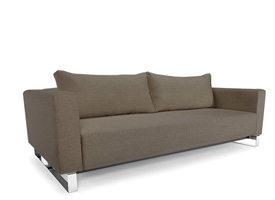 cassius sleek dark khaki sofa bed
