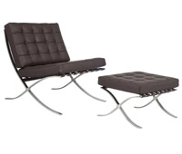 Catalunya chair and ottoman in espresso leather at an affordable price. Modern Lounge chair