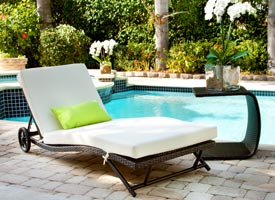Modern Civita outdoor lounger in espresso with confortable pad