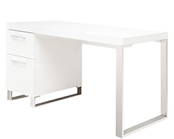 Corsica Modern Office Desk in White Lacquer and Stainless Steel