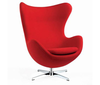 red fabric egg chair at Modern Home 2 go
