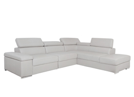 elysee grey leather modern sofa sectional
