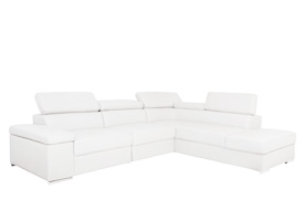 Elysee sectioinal in white leather with option of one or two inserts with motor