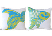 Fish Set of two Modern Outdoor Patio Pillows