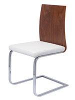 Forano Modern dining chair in white leatherette with chrome legs