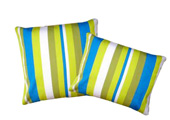 Green and Blue Stripes Modern Outdoor Patio Pillow