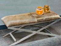 Grena Modern Espresso Cowhide Bench