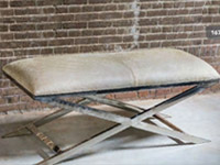 Grena Modern Grey Cowhide Bench