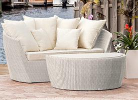 ibiza modern outdoor patio chaise lounger Light-Grey