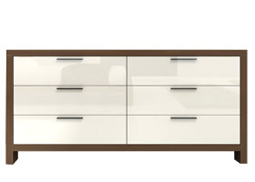 Isca Dresser in walnut and white available at Modern home 2 Go