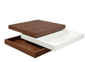 laroma modern coffee table in white and walnut