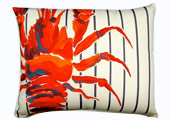 Lobster Modern Outdoor Patio Pillow with Blue and White Stripes