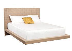 Lugo Beige leatherette bed in Miami and Fort Lauderdale