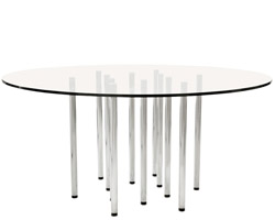 Merano Tempered Glass Top Round Modern Dining Table