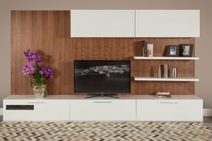 Moderna Modern Wall Unit In Walnut Finish