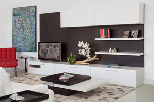Moderna Modern Wall Unit In Walnut Wengue