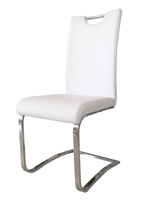 Nova Modern Dining Chair in white leatherette and chrome legs