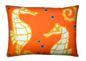 Orange Seahorses Modern Outdoor Patio Pillow