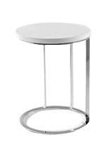 Modern plidoro side table with white Lacquer top