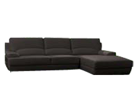 Papoli espresso leather sectional at Modern Home 2 Go