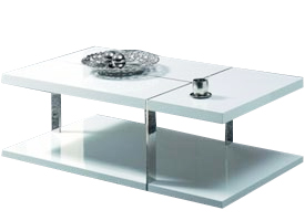 Pastena rectangular coffee table in white lacquer