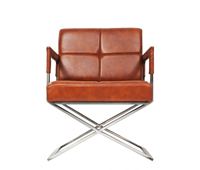 piazza modern lounge chair and ottoman in cognac