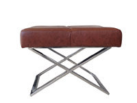 Piazza cognac leather Modern ottoman