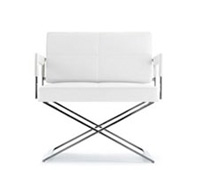 piazza modern lounge chair and ottoman in white leather