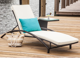 Modern Plati outdoor lounger with pad.