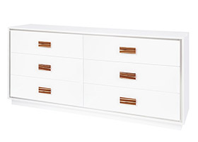 Portofino Modern Dresser in White Lacquer and yellow horn